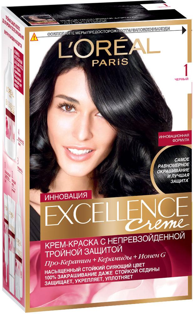 LOreal Paris Стойкая крем-краска для волос Excellence, оттенок 1, ЧёрныйA0691528Крем-краска для волос Экселанс защищает волосы до, во время и после окрашивания. Уникальная формула краскииз Керамида, Про-Кератина и активного компонента Ионена G, которые обеспечивают 100%-ное окрашивание седины и способствуют длительному сохранению интенсивности цвета. Сыворотка, входящая в состав краски, оказывает лечебное действие, восстанавливая поврежденные волосы, а густая кремовая текстура краски обволакивает каждый волос, насыщая его интенсивным цветом. Специальный бальзам-уход делает волосы плотнее, укрепляет их, восстанавливая естественную эластичность и силу волос. В состав упаковки входит: защищающая сыворотка (12 мл), флакон-аппликатор с проявителем (72 мл), тюбик с красящим кремом (48 мл), флакон с бальзамом-уходом (60 мл), аппликатор-расческа, инструкция, пара перчаток.1. Укрепляет волосы 2. Защищает их 3. Придает волосам упругость 3. Насыщеннный стойкий сияющий цвет 4. Закрашивает до 100% седых волос