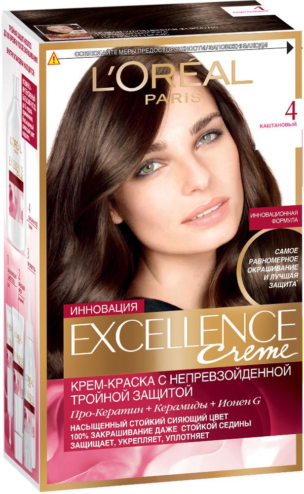 LOreal Paris Стойкая крем-краска для волос Excellence, оттенок 4, КаштановыйLC-81212693Крем-краска для волос Экселанс защищает волосы до, во время и после окрашивания. Уникальная формула краскииз Керамида, Про-Кератина и активного компонента Ионена G, которые обеспечивают 100%-ное окрашивание седины и способствуют длительному сохранению интенсивности цвета. Сыворотка, входящая в состав краски, оказывает лечебное действие, восстанавливая поврежденные волосы, а густая кремовая текстура краски обволакивает каждый волос, насыщая его интенсивным цветом. Специальный бальзам-уход делает волосы плотнее, укрепляет их, восстанавливая естественную эластичность и силу волос. В состав упаковки входит: защищающая сыворотка (12 мл), флакон-аппликатор с проявителем (72 мл), тюбик с красящим кремом (48 мл), флакон с бальзамом-уходом (60 мл), аппликатор-расческа, инструкция, пара перчаток.1. Укрепляет волосы 2. Защищает их 3. Придает волосам упругость 3. Насыщеннный стойкий сияющий цвет 4. Закрашивает до 100% седых волос