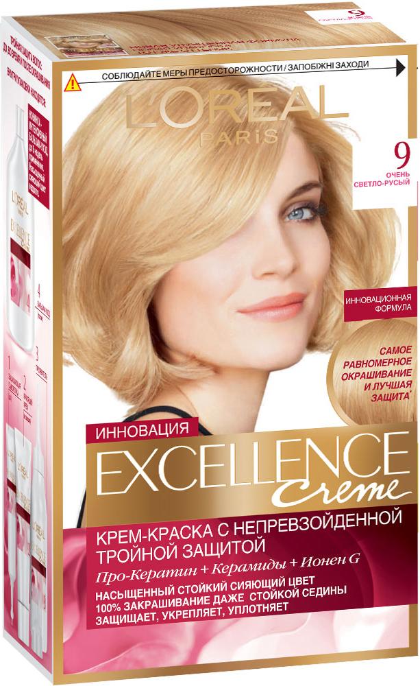 LOreal Paris Стойкая крем-краска для волос Excellence, оттенок 9, Очень светло-русыйA0692928Крем-краска для волос Экселанс защищает волосы до, во время и после окрашивания. Уникальная формула краскииз Керамида, Про-Кератина и активного компонента Ионена G, которые обеспечивают 100%-ное окрашивание седины и способствуют длительному сохранению интенсивности цвета. Сыворотка, входящая в состав краски, оказывает лечебное действие, восстанавливая поврежденные волосы, а густая кремовая текстура краски обволакивает каждый волос, насыщая его интенсивным цветом. Специальный бальзам-уход делает волосы плотнее, укрепляет их, восстанавливая естественную эластичность и силу волос. В состав упаковки входит: защищающая сыворотка (12 мл), флакон-аппликатор с проявителем (72 мл), тюбик с красящим кремом (48 мл), флакон с бальзамом-уходом (60 мл), аппликатор-расческа, инструкция, пара перчаток.1. Укрепляет волосы 2. Защищает их 3. Придает волосам упругость 3. Насыщеннный стойкий сияющий цвет 4. Закрашивает до 100% седых волос