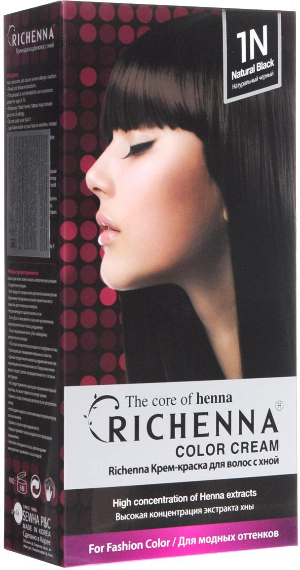 Richenna Крем-краска для волос, с хной, оттенок 1N Натуральный черный10140Крем-краска для волос Richenna с хной позволяет уменьшить повреждение волос, сделать их эластичными и здоровыми, придать волосам живой цвет и красивый блеск. Не раздражая кожу, крем-краска полностью закрашивает седину и обладает приятным цветочным ароматом. Рекомендуется для безопасного изменения цвета волос, полного окрашивания седых волос и в случае повышенной чувствительности к искусственным компонентам краски для волос. Благодаря кремовой текстуре хорошо наносится и не течет. Время окрашивания 20-30 минут. Упаковка средства в 2-х отдельных тубах позволяет использовать средство несколько раз в зависимости от объема и длины волос. Объем крема-краски 60 г, объем крема-окислителя 60 г, объем шампуня с хной 10 мл, объем кондиционера с хной 7 мл. В комплекте: 1 тюбик с крем-краской, 1 тюбик с крем-окислителем, пакетик с шампунем, пакетик с кондиционером, 1 пара перчаток, накидка, пластиковая тара, расческа-кисточка для нанесения и распределения крем-краски и инструкция по применению. Товар сертифицирован.