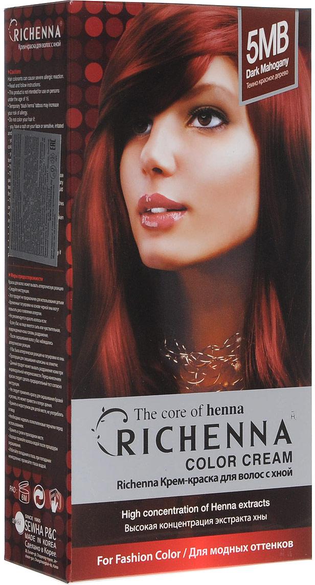 Richenna Крем-краска для волос, с хной, оттенок 5MB Темно-красное дерево29004Крем-краска для волос Richenna с хной позволяет уменьшить повреждение волос, сделать их эластичными и здоровыми, придать волосам живой цвет и красивый блеск. Не раздражая кожу, крем-краска полностью закрашивает седину и обладает приятным цветочным ароматом. Рекомендуется для безопасного изменения цвета волос, полного окрашивания седых волос и в случае повышенной чувствительности к искусственным компонентам краски для волос. Благодаря кремовой текстуре хорошо наносится и не течет. Время окрашивания 20-30 минут. Упаковка средства в 2-х отдельных тубах позволяет использовать средство несколько раз в зависимости от объема и длины волос. Объем крема-краски 60 г, объем крема-окислителя 60 г, объем шампуня с хной 10 мл, объем кондиционера с хной 7 мл. В комплекте: 1 тюбик с крем-краской, 1 тюбик с крем-окислителем, пакетик с шампунем, пакетик с кондиционером, 1 пара перчаток, накидка, пластиковая тара, расческа-кисточка для нанесения и распределения крем-краски и инструкция по применению. Товар сертифицирован.