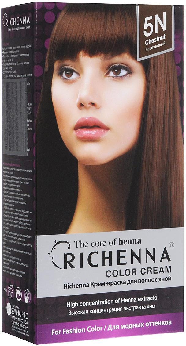Richenna Крем-краска для волос, с хной, оттенок 5N, КаштановыйLC-81212677