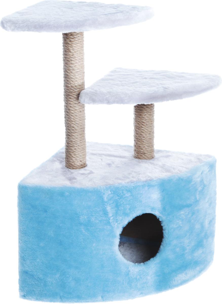 Домик-когтеточка Велес, угловой, 2 когтеточки, цвет: серый, голубой, 45 х 40 х 70 см14_серый, голубойДомик-когтеточка Велес выполнен из высококачественного ДСП и обтянут искусственным мехом. Комплекс имеет 3 яруса. Ваш домашний питомец будет с удовольствием точить когти о специальные столбики, обтянутые джутом, а отдохнуть он сможет на полках или в домике.