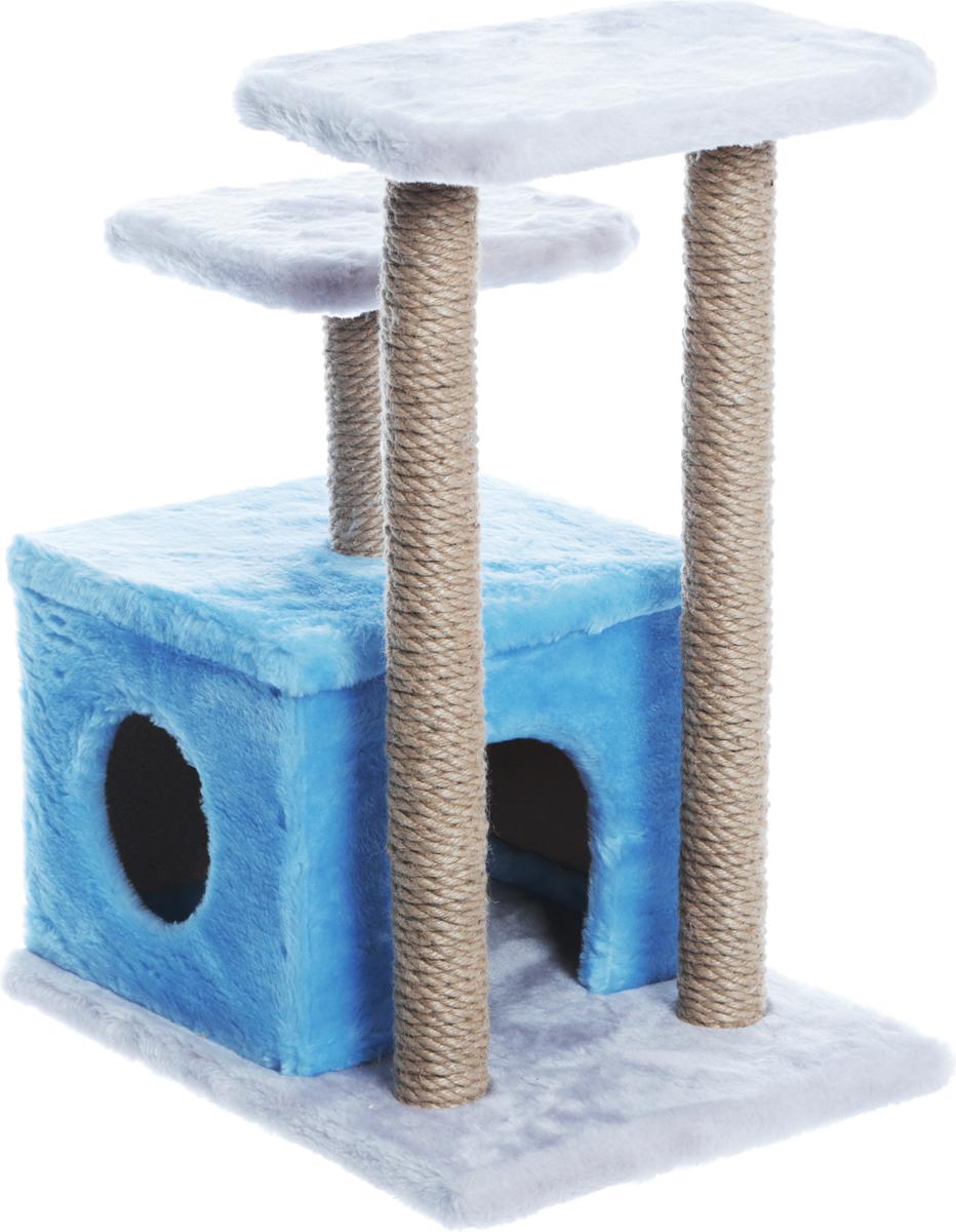 Домик-когтеточка Велес, квадратный, 2 входа, 2 когтеточки,цвет: голубой, серый50 х 35 х 60 см21_голубой, серыйДомик-когтеточка Велес выполнен из высококачественного ДСП и обтянут искусственным мехом. Комплекс имеет 3 яруса. Ваш домашний питомец будет с удовольствием точить когти о специальные столбики, обтянутые джутом, а отдохнуть он сможет на полках или в домике.