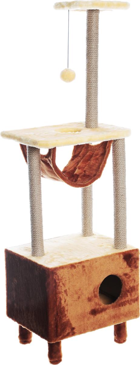 Домик-когтеточка Велес, квадратный, 3-этажный, с гамаком, цвет: желтый, коричневый, 45 х 35 х 140 см19_желтый, коричневыйДомик-когтеточка Велес выполнен из высококачественного ДСП и обтянут искусственным мехом. Изделие предназначено для кошек. Ваш домашний питомец будет с удовольствием точить когти о специальный столбик, изготовленный из джута. А отдохнуть он сможет либо на полке, либо в домике или в гамаке. Изделие снабжено подвесной игрушкой. Домик-когтеточка Велес принесет пользу не только вашему питомцу, но и вам, так как он сохранит мебель от когтей и шерсти.