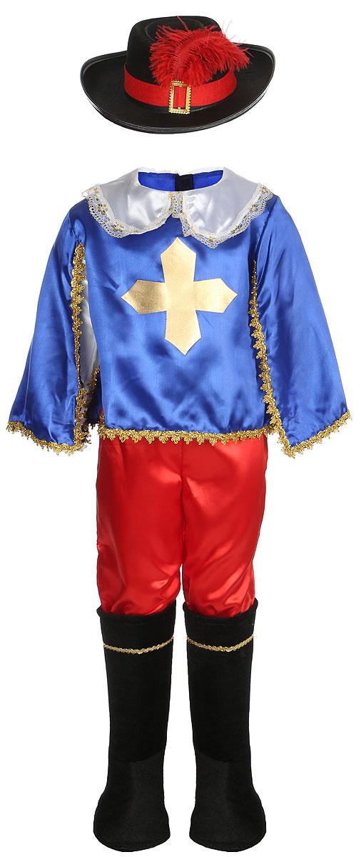 Карнавалия Карнавальный костюм для мальчика Мушкетер цвет синий красный размер 110
