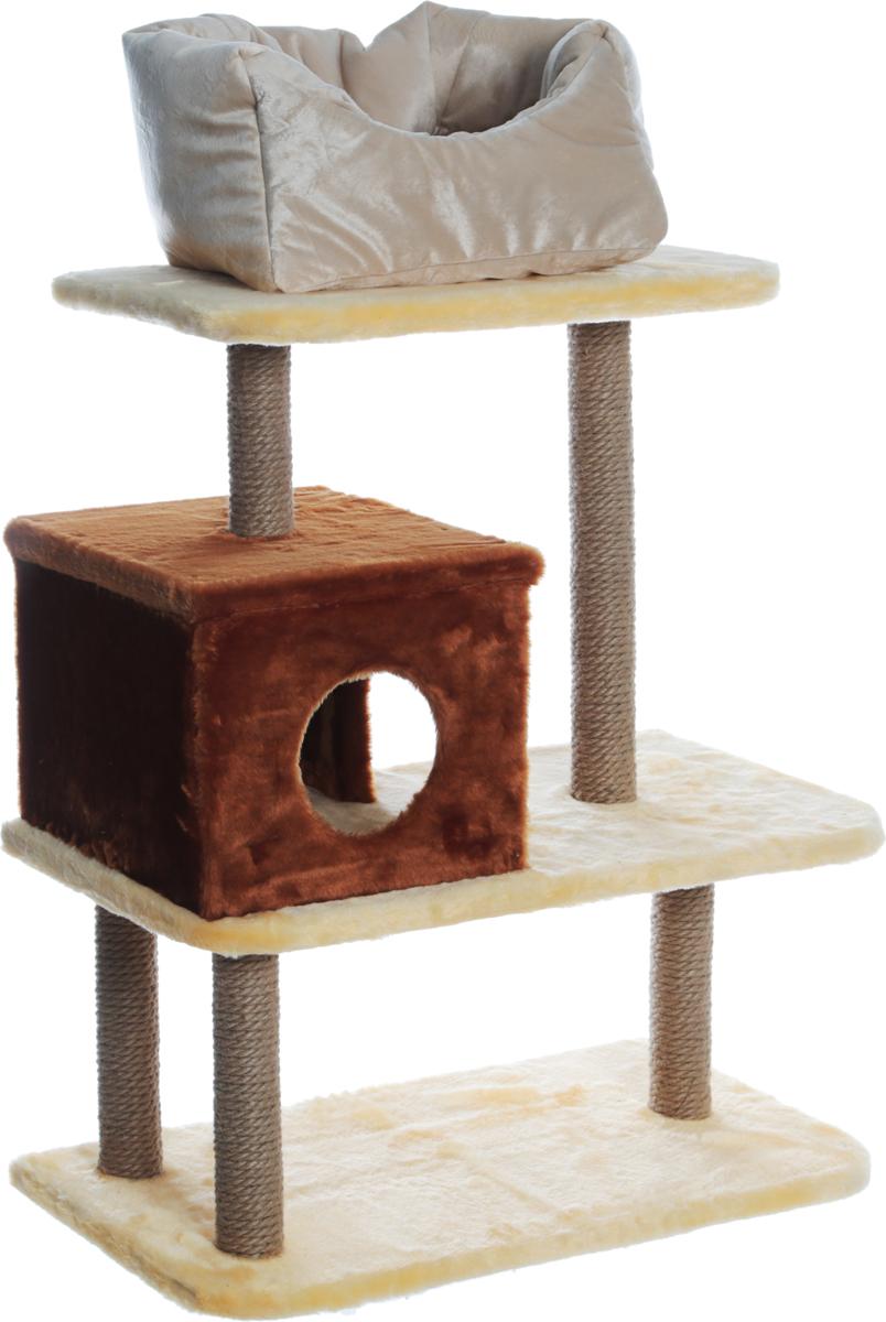 """Игровой комплекс для животных """"Велес"""", 3-этажный, с домиком и лежаком на площадке, цвет: желтый, коричневый, 70 х 36 х 60 см"""