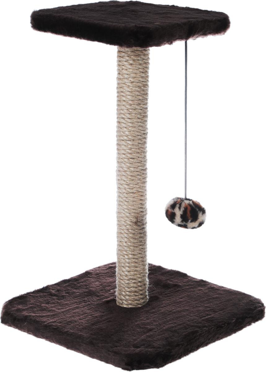 Когтеточка Велес Столбик, с полкой и игрушкой, цвет: темно-коричневый, 35 х 35 х 50 см когтеточка столбик beeztees lesley цвет серый 35 х 35 х 60 см