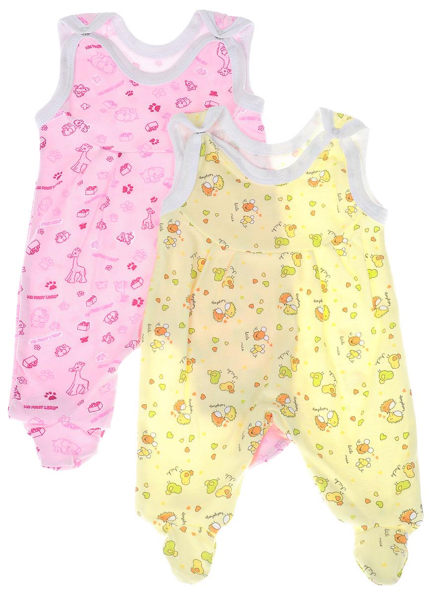 Ползунки с грудкой для девочки Фреш Стайл, цвет: розовый, желтый, 2 шт. 33-501д. Размер 50 ползунки с грудкой трон плюс цвет желтый 5221 размер 80 12 месяцев
