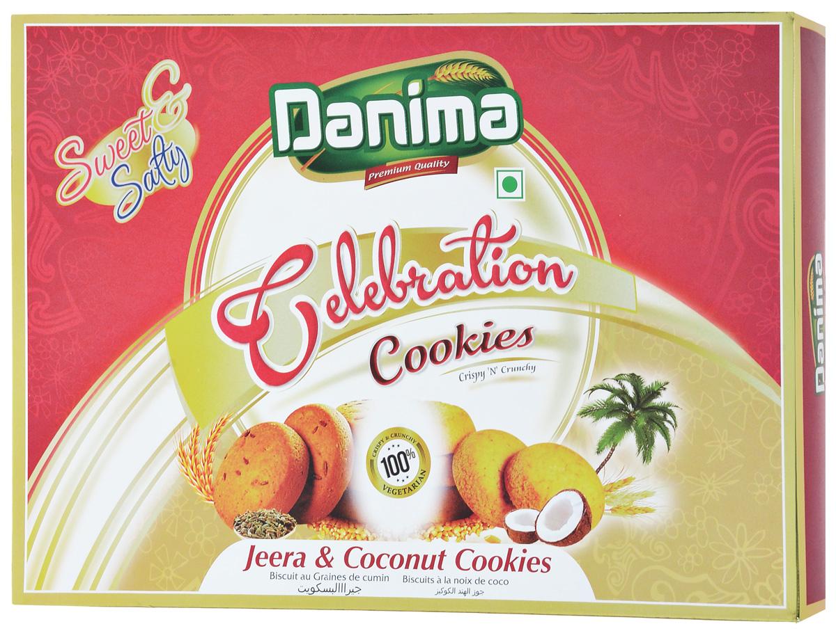 Danima печенье ассорти с тмином и кокосовой стружкой, 300 г кондитерская фабрика богатырь shokovita нуга с кокосовой стружкой сливочный аромат 28 шт по 30 г