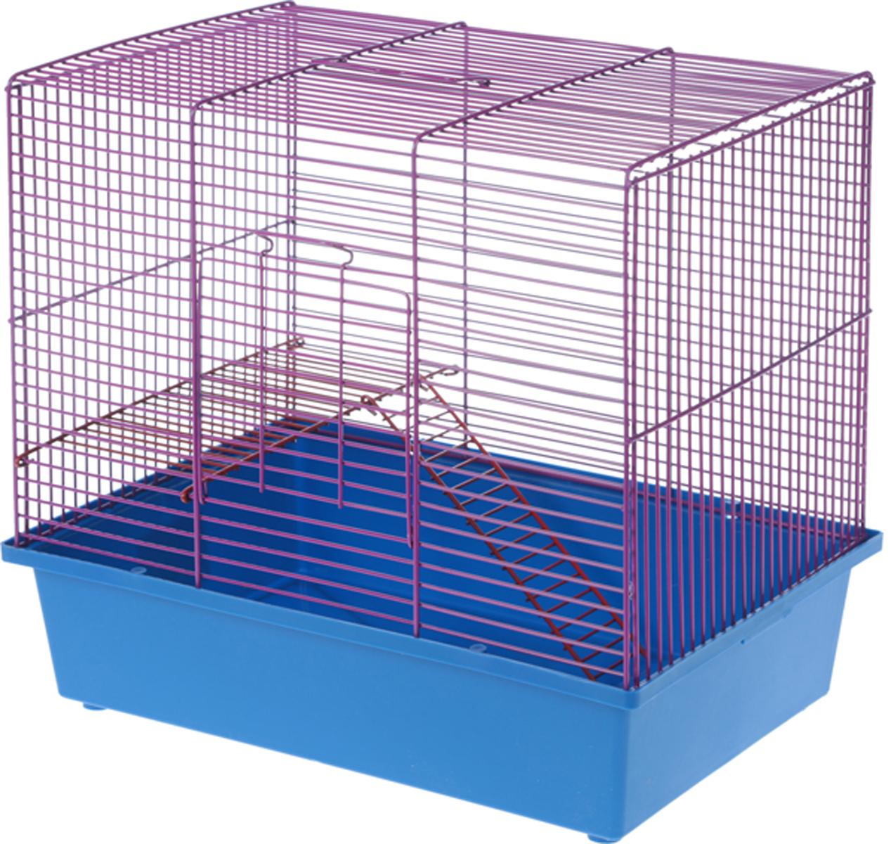 Клетка для грызунов Велес Lusy Hamster-2, 2-этажная, цвет: сиреневый, синий, 35 х 26 х 26 см клетка для грызунов ferplast hamster duo белая 46x29x37 5см