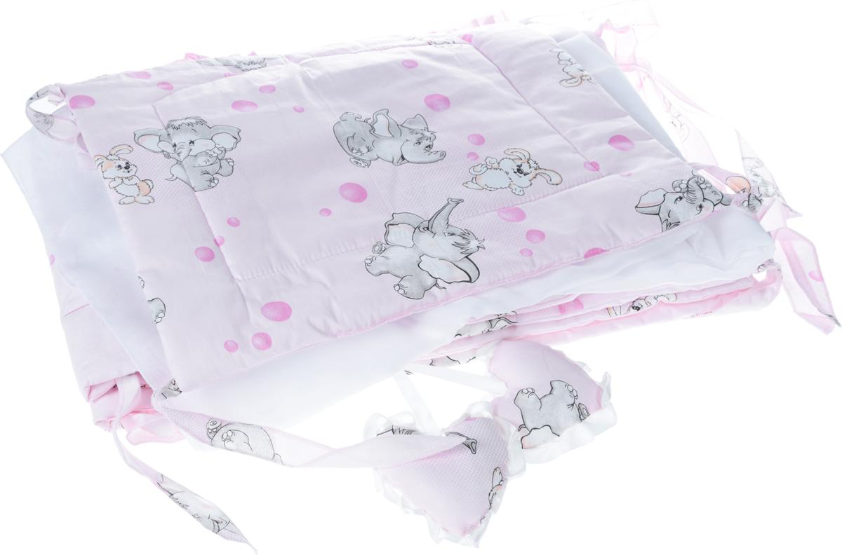 Фея Комплект для детской кроватки Слоник и зайка цвет розовый 2 предмета1047_розовый/Слоник и зайкаКомплект в кроватку Фея Слоник и зайка состоит из бортика и балдахина. Бортик в кроватку состоит из четырех частей и закрывает весь периметр кроватки. Бортик крепится к кроватке с помощью специальных завязок, благодаря чему его можно поместить в любую детскую кроватку. Бортик выполнен из натурального хлопка безупречной выделки. Деликатные швы рассчитаны на прикосновение к нежной коже ребенка. Борт оформлен изображениями забавных зверят: слоненка и зайчика.Балдахин, выполненный из полиэстера, может использоваться как для люльки, так и для кроватки. Сверху балдахин декорирован вставкой из хлопка с рисунком. Изделие оснащено двумя атласными лентами с мягкими игрушками в виде сердец на концах. Ленты завязываются на бант.