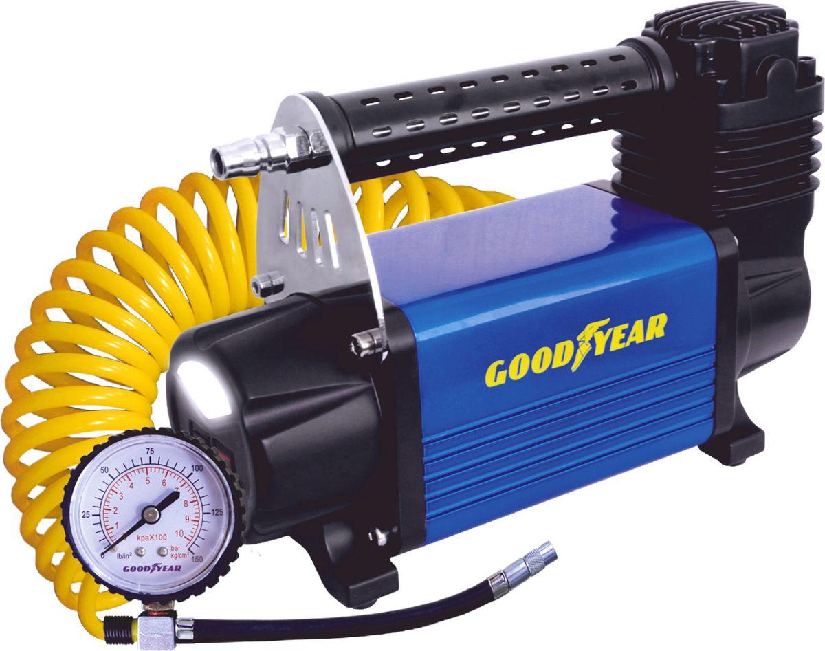 Компрессор автомобильный Goodyear GY-50L LED, с фонарем, питание от АКБ, съемный витой шланг, 50 л/минGY000113Мощный и производительный воздушный компрессор Goodyear GY-50L LED с питанием от АКБ автомобиля и встроенным светодиодным фонарем. Не требует обслуживания. Накачивает колесо R-16 за 3 минуты. Высокоточный манометр. Сумка и набор переходников в комплекте. Флажковый предохранитель в капсуле на контактном проводе. Металлический радиатор охлаждения камеры поршня. Встроенный светодиодный фонарь. Расширенная гарантия (3 года). Оригинальный лицензированный продукт. Производительность – 50 л/мин. Мощность – 240 Вт. Максимальное токопотребление – 20 А. Максимальное давление – 10 Атм. Температура эксплуатации - 40..60°С. Время непрерывной работы – 30 минут.