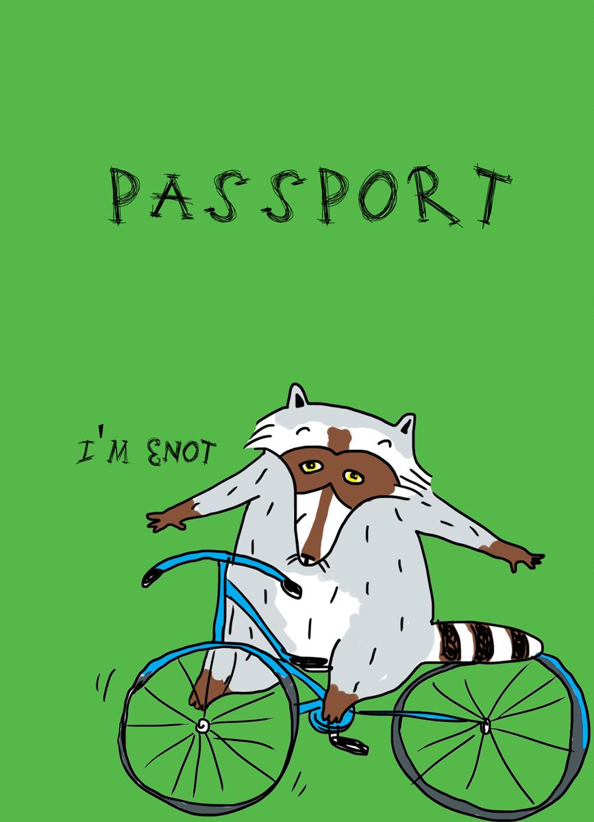 Обложка для паспорта женская Эксмо Енот на колесах, цвет: мультиколор. 978-5-699-92179-9 животные и птицы на ферме эксмо 978 5 699 74512 8