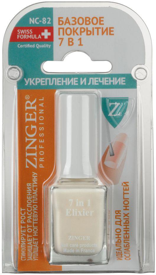 Zinger Базовое покрытие 7 в 1 Укрепление и лечение NC82, 12 мл77866Универсальное покрытие для ногтей 7 в 1. Выравнивающия основа под лак. Укрепляющее средство. Средство для быстрого роста ногтей. Увлажняющее и стимулирующее регенерацию клеток ногтевой пластины средство. Верхнее покрытие для лака. Содержит витамин Е, аргановое масло и масло баобаба. Идеально для ослабленных ногтей.Как ухаживать за ногтями: советы эксперта. Статья OZON Гид