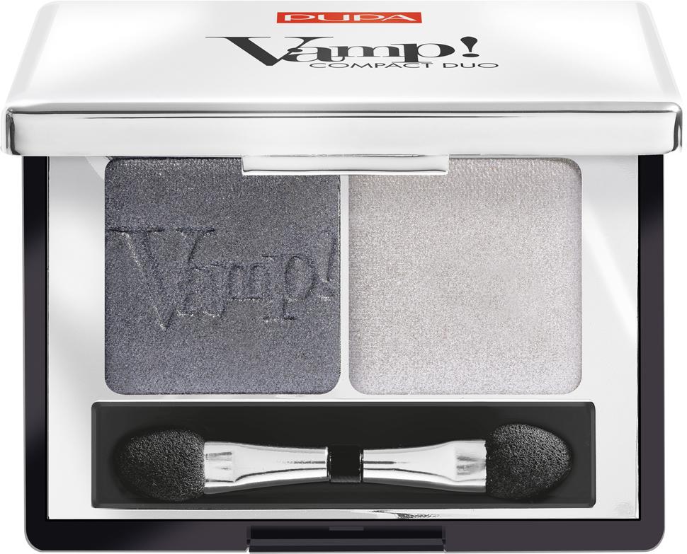 Pupa Компактные двойные тени VAMP! DUO тон 009 серебряный камень, 2,2 г040087009Двойные компактные тени VAMP! COMPACT DUO. Набор из двух компактных теней для век. Инновационная формула - высокая концентрация пигментов, чистый однородный цвет. Очень мягкая текстура легко растушёвывается и позволяет моделировать степень покрытия. Абсолютно чистый, однородный и равномерный цвет. Формула нового поколения: специальное сочетание связующих веществ делает цвет равномерным по всей поверхности века, увеличивая стойкость макияжа.