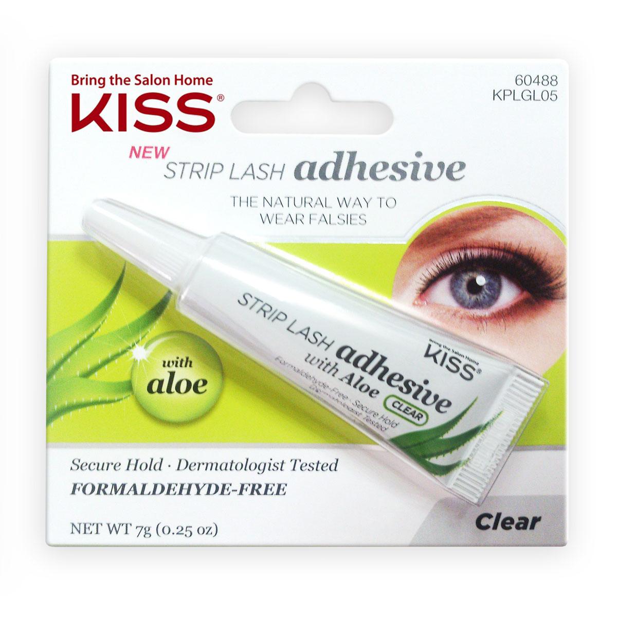 Kiss Клей с алое для накладных ресниц, Прозрачный Strip Lash Adhesive KPLGL0512-641Гипоаллергенный клей для накладных ресниц прозрачного цвета поможет скрыть все погрешности и несовершенства при аппликации. В его состав входит экстракт алое, который обеспечивает смягчающий и успокаивающий эффект. Не вызывает раздражения. Протестировано и одобрено дерматологами.