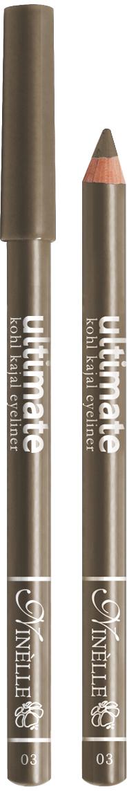 Ninelle Карандаш для глаз Ultimate №03, 1,5 г1054N10763Мягкий и гладкий карандаш для глаз с шелковистой текстурой, позволяющий нарисовать четкую или слегка растушеванную линию. С помощью мягкого карандаша- каяла можно подводить верхнее, нижнее, а также внутреннее веко.