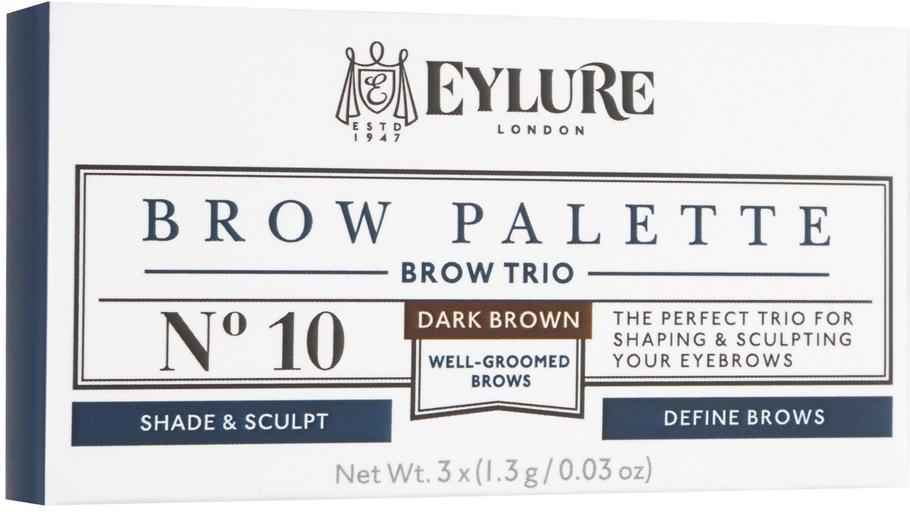Eylure Палетка для моделирования бровей 10 Brow Palette - Темно-коричневая 3*3 гр6008101Набор для моделирования бровей для создания формы, цвета и выразительности. В составе теней витамины A и C, антиоксидант витамин E и силиконовый флюид, которые придают гладкость при нанесении. Воск придает устойчивость и водостойкий эффект, а розмарин и масло сладкого миндаля в составе воска увлажняют и ухаживают за бровями.Моделирование: зафиксируйте форму бровей с помощью воска Цвет: с помощью интенсивно пигментированных теней Выделение: подчеркните брови с помощью хайлайтераВ комплекте: Тени для бровей, моделирующий воск, хайлайтер и аппликатор. Объем: 3 Х 3 гКак создать идеальные брови: пошаговая инструкция. Статья OZON Гид