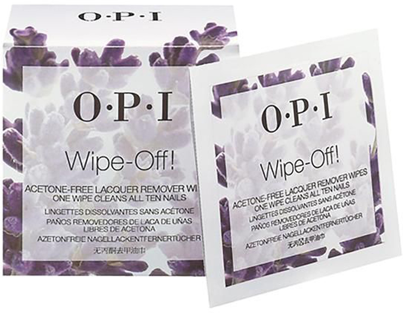 OPI Салфетки без ацетона для снятия лака Wipe-Off! Acetone-Free Lacquer Remover Wipes, 10 шт закрепители для лака isadora верхнее покрытие для гелевого лака для ногтейgel nail lacquer top coat 210 6мл