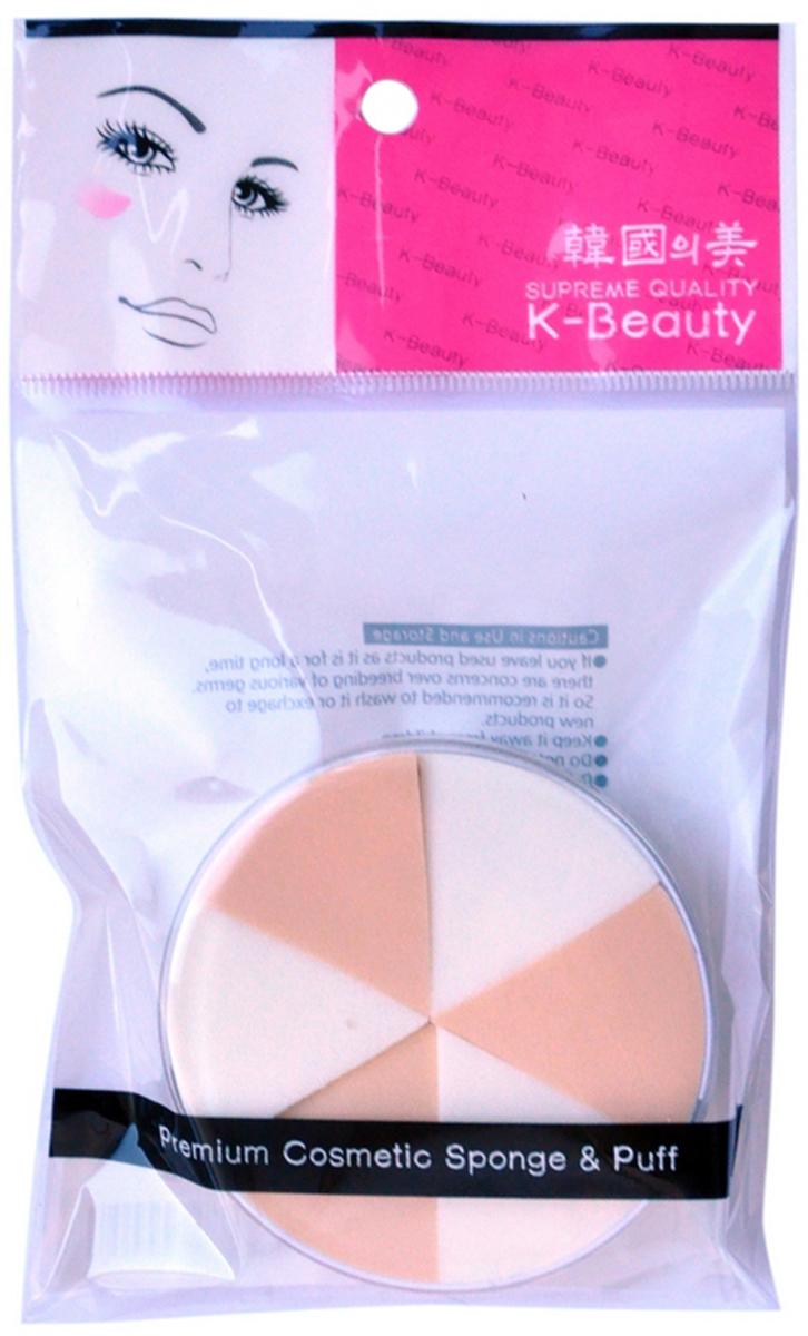K-Beauty Спонж косметический, двухцветный, 6 шт k beauty спонж косметический цветок 8 шт