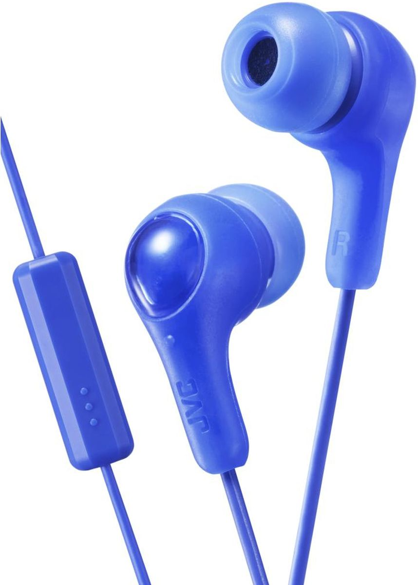 JVCHA-FX7M-A-E, Blue наушникиHA-FX7M-A-EНаушники JVC HA-FX7M-E оснащены встроенным микрофоном и однокнопочным проводным пультом, позволяющим выбирать музыку, включать запись и переключаться на телефонный звонок. Дизайн позволяет просто, надёжно и комфортно закреплять наушники в ушном канале. Идеально подходят для всех MP3, DVD, CD-плееров, iPod и iPhone, а также для портативных игровых консолей.