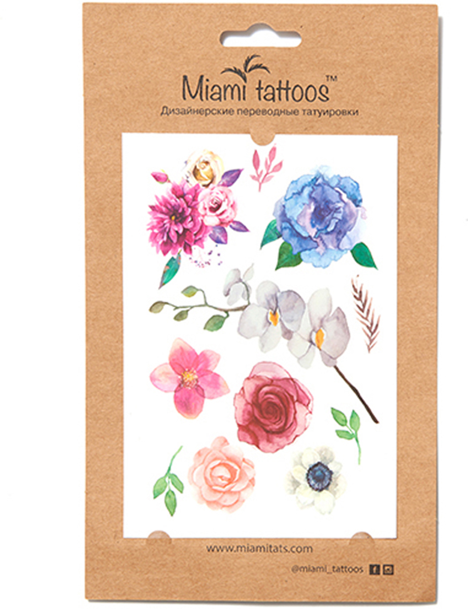 Miami Tattoos Акварельные переводные тату Miami Tattoos Blossom 1 лист 10 см х 15 см переводные тату essence get your glitter on tattoo you body tattoos 02 цвет 02 freckle face variant hex name e4ad80