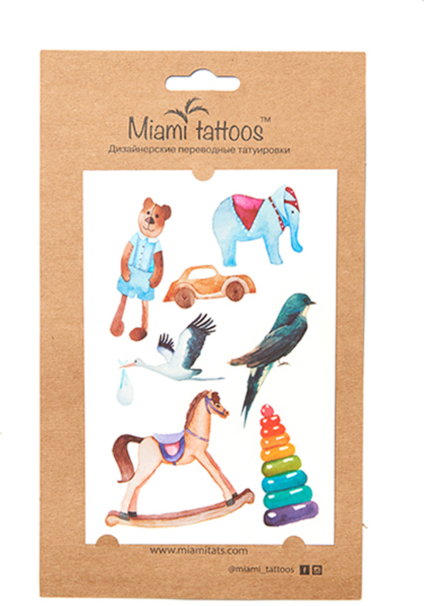 Miami Tattoos Акварельные переводные тату Miami Tattoos Toys 1 лист 10 см х 15 см переводные тату essence get your glitter on tattoo you body tattoos 02 цвет 02 freckle face variant hex name e4ad80