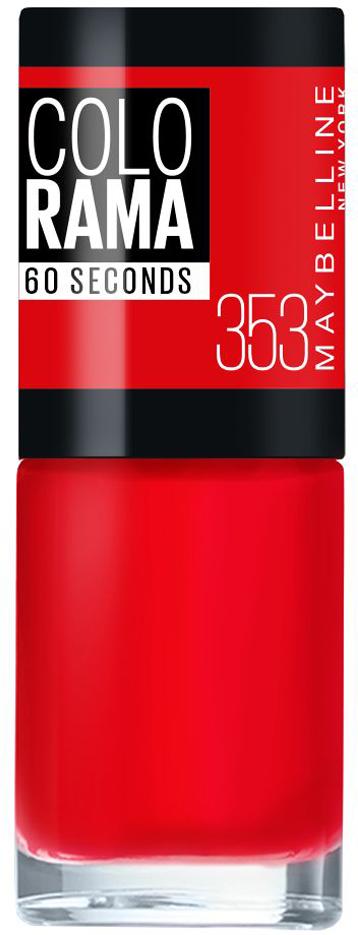 Maybelline New York Лак для ногтей Colorama, оттенок 353, Классический красный, 7 млB2805004Самая широкая палитра оттенков новых лаков Колорама. Яркие модные цвета с подиума. Новая формула лака Колорама обеспечивает стойкое покрытие и создает еще более дерзкий, насыщенный цвет, который не тускнеет. Усовершенствованная кисточка для более удобного и ровного нанесения, современная упаковка. Лак для ногтей Колорама не содержит формальдегида, дибутилфталата и толуола.Как ухаживать за ногтями: советы эксперта. Статья OZON Гид