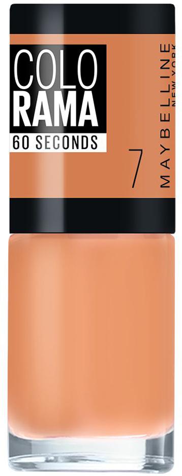 Maybelline New York Лак для ногтей Colorama, оттенок 7, Мягкая замша, 7 млB2805204Самая широкая палитра оттенков новых лаков Колорама. Яркие модные цвета с подиума. Новая формула лака Колорама обеспечивает стойкое покрытие и создает еще более дерзкий, насыщенный цвет, который не тускнеет. Усовершенствованная кисточка для более удобного и ровного нанесения, современная упаковка. Лак для ногтей Колорама не содержит формальдегида, дибутилфталата и толуола.Как ухаживать за ногтями: советы эксперта. Статья OZON Гид