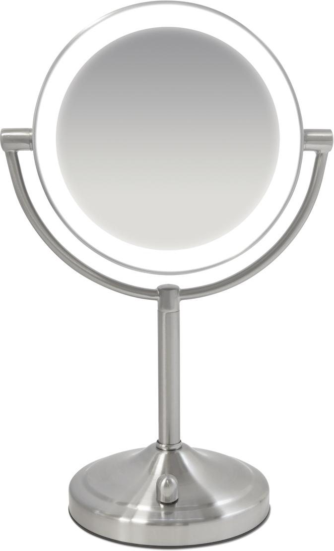 HoMedics Двусторонее косметическое зеркало MIR-8150-EUMIR-8150-EUДвусторонее косметическое зеркало с LED подсветкой, с 7- и 1-кратным увеличением. Диаметр 17 см. Мягкое, яркое освещение без теней и бликов. Высококачественное оформление сатинированным никелем. Особенность - работает от 4х батареек типа АА (в комплекте), Вы можете легко переносить зеркало в любое удобное место! Светодиодная подсветка с полностью регулируемой яркостью обеспечивает продолжительный срок эксплуатации