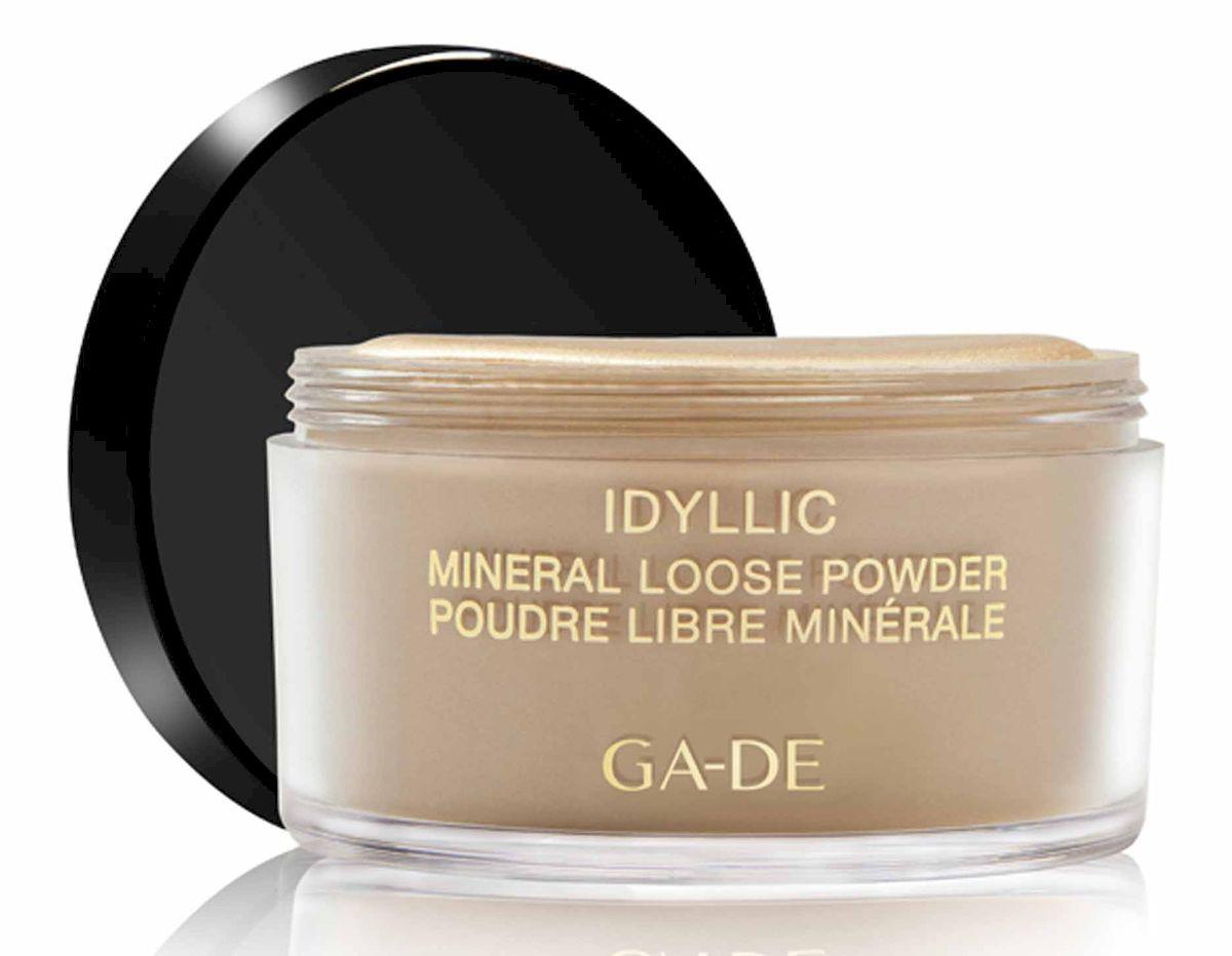 GA-DE Рассыпчатая пудра Idyllic Mineral, тон №101, 25 г103700101Минеральная рассыпчатая пудра. Для всех типов кожи, в том числе для чувствительной и проблемной. Легкое покрытие. Ультратонкая текстура. Мультиминеральный комплекс и экстракт оливкового масла – поддерживают упругость и предотвращают появление морщин.