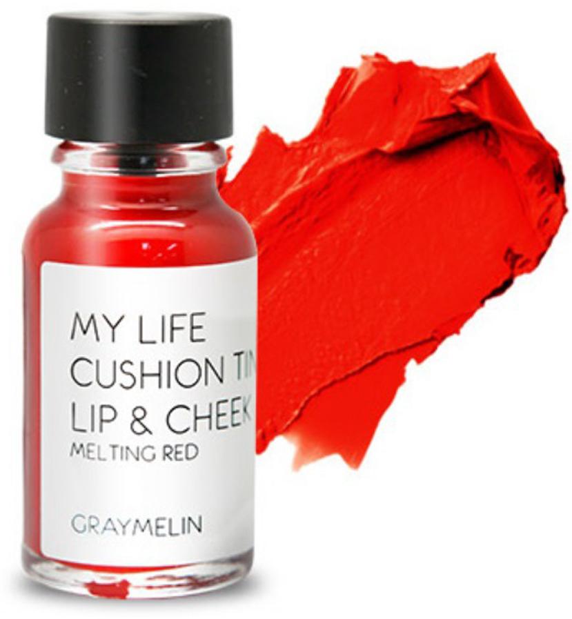 Graymelin, Тинт для губ и щек (melting red), Cushion Tint Lip & Cheek,B2847600Легкий тинт для губ и скул с консистенцией эссенции от Graymelin, сохраняет цвет и сочность губ в течение длительного времени, придает румянец и здоровый цвет коже лица, активно увлажняет, питает и впитывается без растекания. Это декоративное и ухаживающее средство не оставляет на губах дискомфорта и жирного блеска, после нанесения не смазывается.