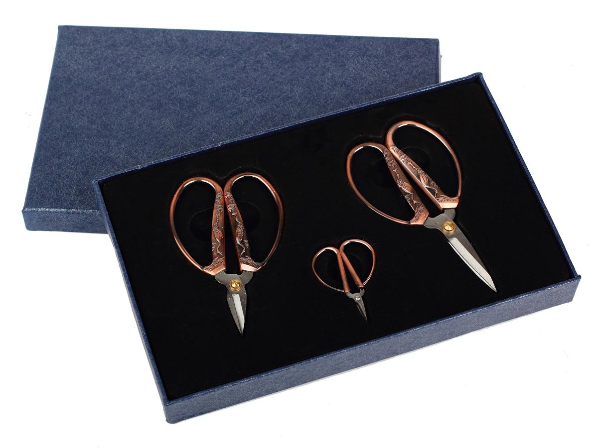 Набор ножниц для рукоделия RTO Винтаж, серебро с золотом, 3 шт шкатулка для рукоделия rto 3812 rt 64