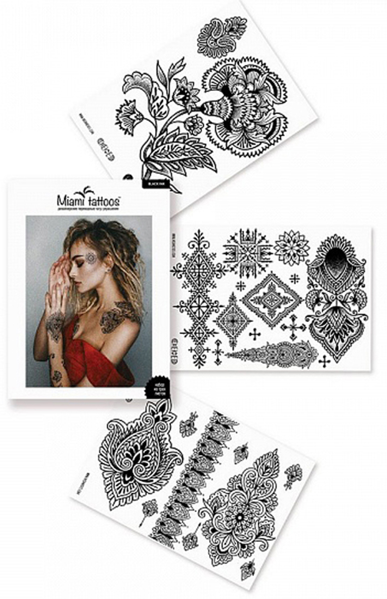 Переводные тату Miami Tattoos Black Ink, 3 листа 20см*15см 8 sheets package temporary jewelry tattoos metallic tattoo fashion accessory body art tattoos