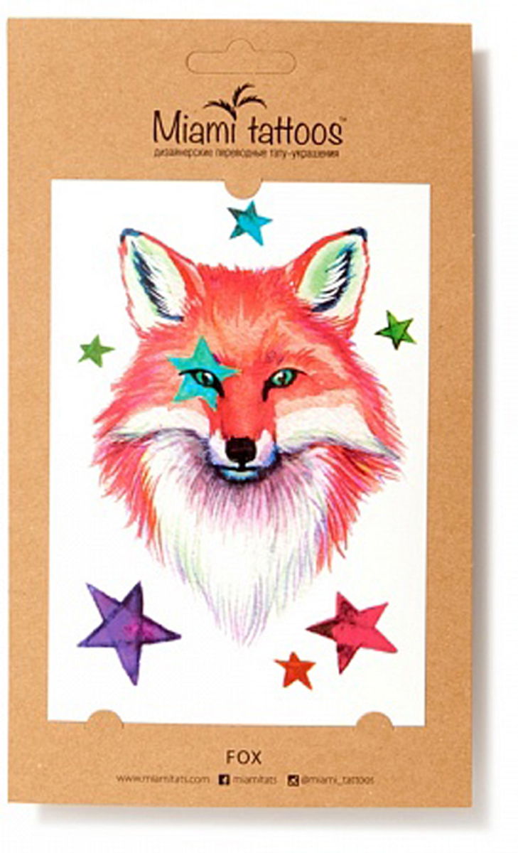 Акварельные переводные тату Miami Tattoos Fox, 1 лист 10см*15см flash tattoos sheebani authentic metallic temporary tattoos