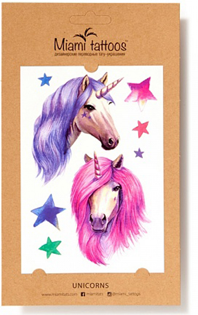 Акварельные переводные тату Miami Tattoos Unicorns, 1 лист 10см*15см flash tattoos sheebani authentic metallic temporary tattoos