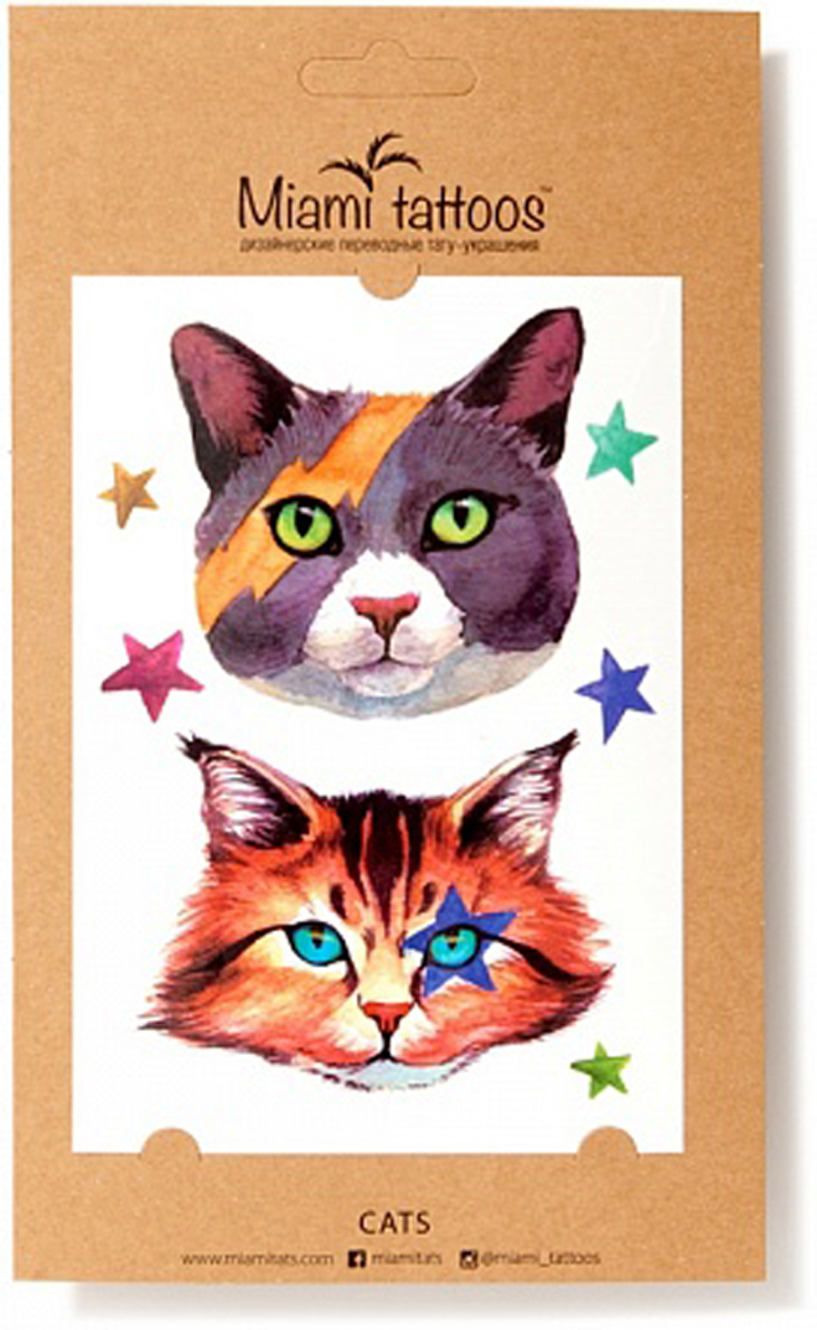 Акварельные переводные тату Miami Tattoos Cats, 1 лист 10см*15см flash tattoos isabella authentic metallic temporary tattoos