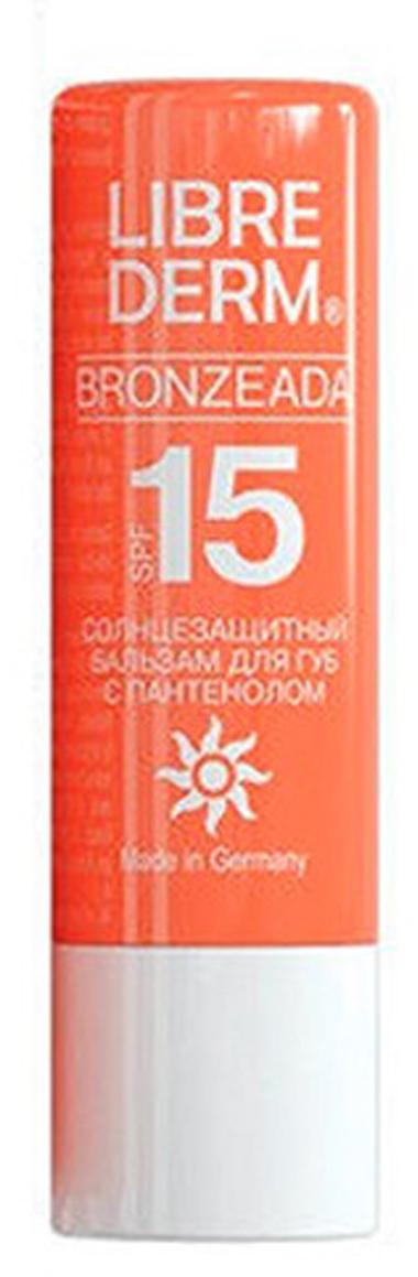 Librederm Bronzeada бальзам для губ с пантенолом солнцезащитный SPF 15, 4 г