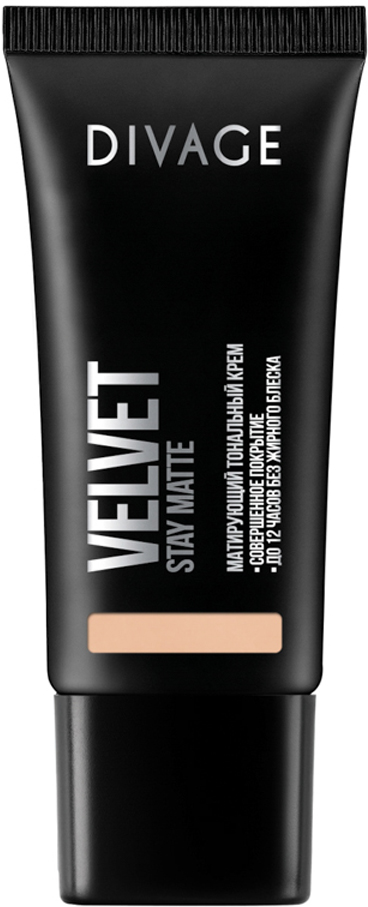 Divage Тональный Крем Velvet - Товар № 07014428Нежная кремовая текстура обладает тройным действием. Микропигменты идеально выравнивают кожу, маскируя любые недостатки, и создают идеально ровный тон лица, придавая коже бархатное сияние. Витамин Е защищает кожу от вредного воздействия окружающей среды. Экстракт зеленого чая, входящий в состав формулы, сужает поры и придаёт дополнительную матовость коже лица. Тональный крем держится до 12 часов, сохраняя кожу ровной и гладкой без жирного блеска. В коллекцию добавлены три новых благородных оттенка, для еще более комфортного и естественного макияжа.