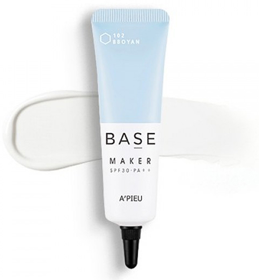 APieu База под макияж №102 молочная, 20 г8806185782883База под макияж создает естественный оттенок кожи, выравнивает цвет лица и делает макияж более стойким. APIEU Base Maker (102 Milky)- средство содержит увлажняющий комплекс, комплекс пророщенных ростков, масло оливы. Восстанавливает яркость тусклой кожи, осветляет, улучшает текстуру. Улучшает стойкость макияжа в течении дня. Увлажняет обезвоженную кожу, избавляет от мелких морщинок, способствует увеличению синтеза коллагена. Солнцезащитный фактор SPF30/ PA ++