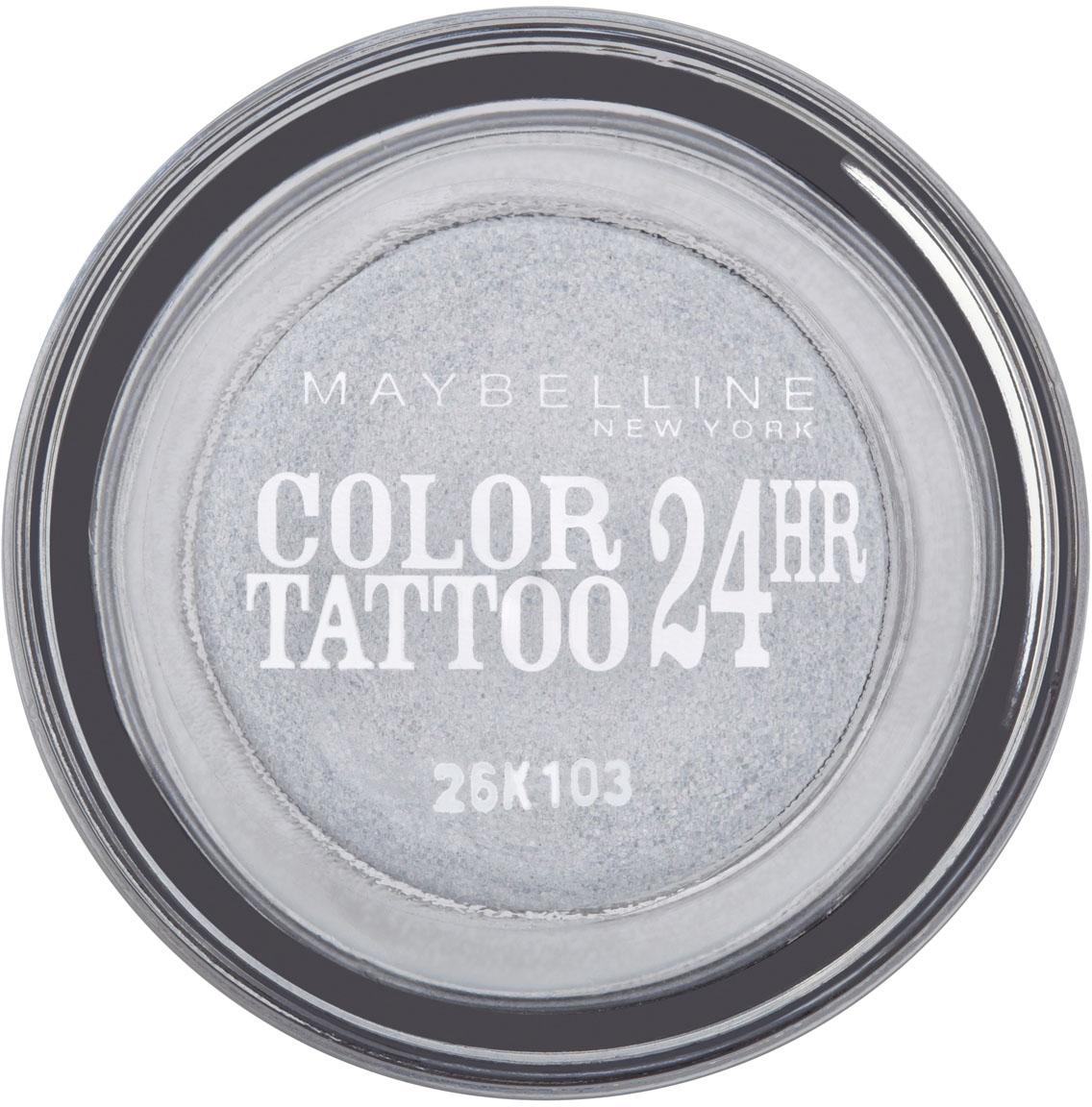Maybelline New York Тени для век Color Tattoo 24 часа, оттенок 50, Неизменное серебро, 4 млZ2602Технология тату-пигментов создает яркий, супернасыщенный цвет. Крем-гелевая текстура обеспечивает ультралегкое нанесение и стойкость на 24 часа. 12 оттенков