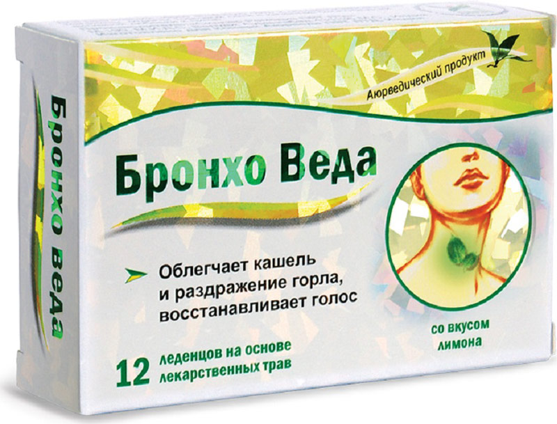 Бронхо Веда леденцы травяные №12 (со вкусом лимона)223898БРОНХО ВЕДА (Травяные леденцы со вкусом лимона) - леденцы на основе лекарственных трав, созданные по канонам Аюрведической медицины; облегчают кашель и раздражение горла, восстанавливают голос. Сфера применения: ОториноларингологияПротив гриппа и простуды