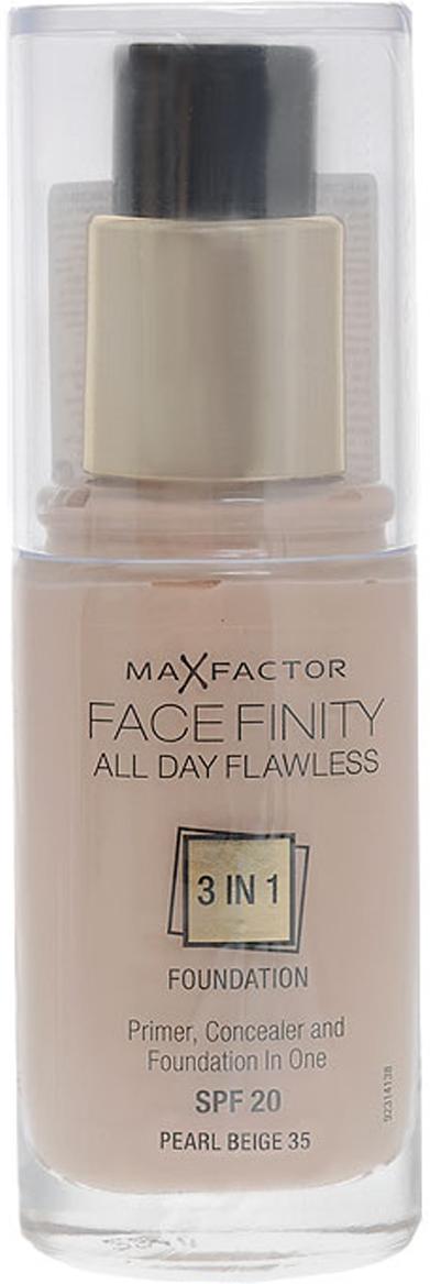 Max Factor Тональная основа 3в1 Facefinity All Day Flawless, SPF 20, тон №35 (pearl beige), 30 мл81377971MaxFactor FacefinityAllDayFlawless 3в1- это жидкая тональная основа, сочетающая в себе праймер и консилер, которая создает стойкое и безупречное покрытие. Улучшенная эмульсия на основе воды и силикона обеспечивает качественное покрытие и легко наносится благодаря специальной формуле, поэтому теперь сделать профессиональный макияж очень просто. Праймер выравнивает поверхность кожи и обеспечивает стойкость макияжа, а консилер маскирует недостатки и изъяны, придавая лицу безупречный вид. Формула MaxFactorFacefinity очень легкая, предотвращает появление жирного блеска, поскольку в состав не входят масла, имеет солнцезащитный фактор SPF20 для защиты кожи от солнечных лучей. Формула 3в1: тональная основа, праймер и консилер.Идеальный оттенок должен соответствовать тону кожи на линии подбородка. Для получения ровного покрытия нанеси небольшое количество тональной основы на лицо и распредели ее от центра к краям кончиками пальцев или с помощью специальной кисти. Чтобы скрыть недостатки кожи, добавь немного средства в те зоны лица, где покрытие должно быть более плотным. Всегда наноси продукт при ярком дневном освещении. Стойкий макияж на весь день готов. Чтобы скрыть недостатки кожи, добавь немного средства в те зоны лица, где покрытие должно быть более плотным.