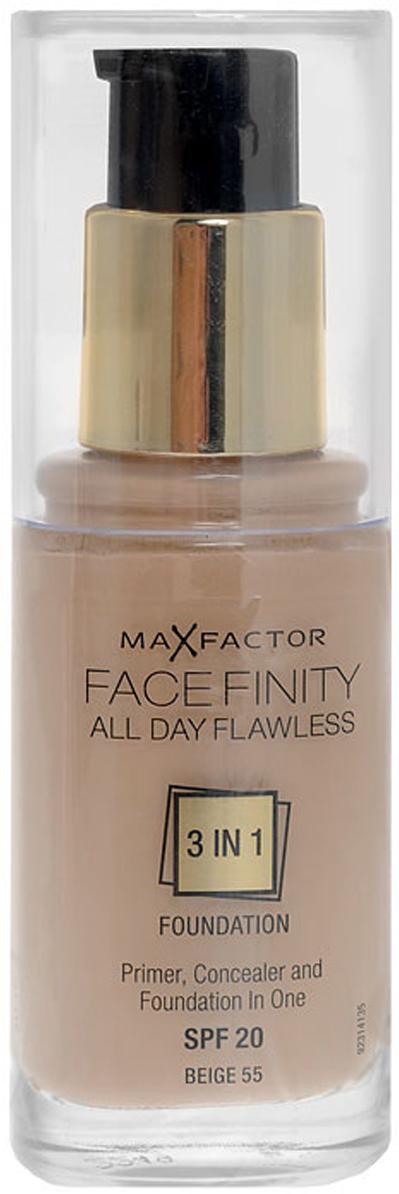 Max Factor Тональная основа 3в1 Facefinity All Day Flawless, SPF 20, тон №55 (beige), 30 мл30.551Max Factor Facefinity All Day Flawless - тональная основа, которая заменит 3 средства одновременно: основу под макияж, корректор и безупречное тональное покрытие, обладает защитой SPF 20. Сочетание этих трех средств дает возможность создать идеальный макияж на весь день! Совершенное средство обеспечит матовость кожи, идеальный тон - что придает вам уверенность на весь день!Если ваша кожа обладает комбинированными свойствами - и сухая и жирная одновременно, то тональная основа будет вашим незаменимым средством и станет настоящей палочкой-выручалочкой для подчеркивания сияния вашей кожи.В основе сияющей и идеально ровной кожи лежит флекси-удерживающая технология, которая создает крепкую, но легкую текстуру, совсем не ощутимую на коже. Далее, микро-корректирующие частички в формуле защищают от внутренних факторов, таких как пот и подкожное сало, корректируя и поддерживая внешний вид кожи в течение долгого времени и предотвращая блеск. Формула основы с защитой от УФ лучей SPF 20, обеспечивает матовый эффект, благодаря частицам, впитывающим излишние жиры.Товар сертифицирован.