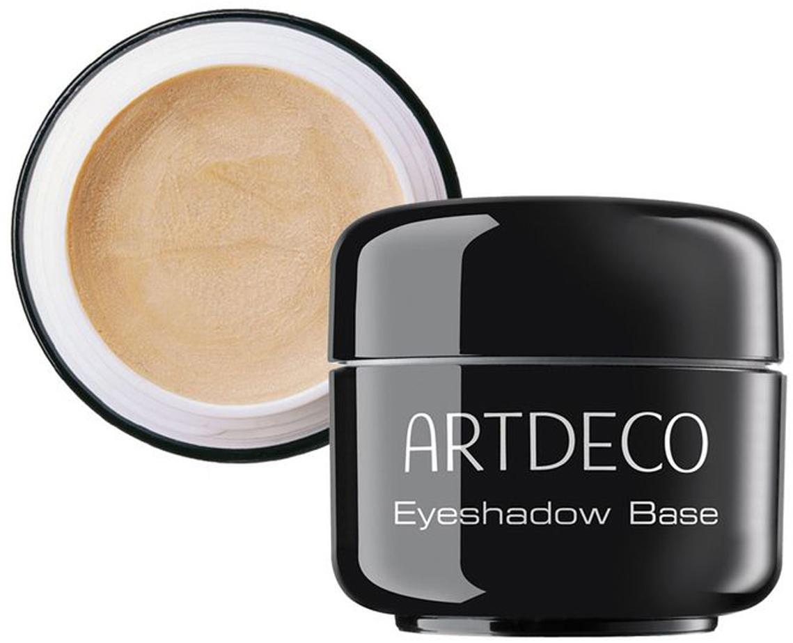 Artdeco База под тени для век Eyeshadow Base, 5 мл2910База для теней Artdeco Eyeshadow Base жемчужно-телесного цвета с кремовой текстурой и максимальным светоотражением помогает корректировать недостатки и цветовые несовершенства кожи, готовит веко для нанесения теней. Этот продукт специально создан, чтобы подчеркнуть красоту цвета и текстуры теней для век. Макияж глаз благодаря использованию Artdeco Eyeshadow Base становиться максимально стойким. Уникальный комплекс антисептиков, увлажнителей и витаминов успокаивают покраснения на веках. Применение:на чистое веко нанесите подушечками пальцев небольшое количество базы, распределив по верхнему веку. Дайте зафиксироваться текстуре в течение минуты и наносите тени или карандаш. Обязательно плотно закрывайте крышку после каждого использования. Характеристики:Объем: 5 мл. Производитель: Германия. Артикул: 2910. Товар сертифицирован.