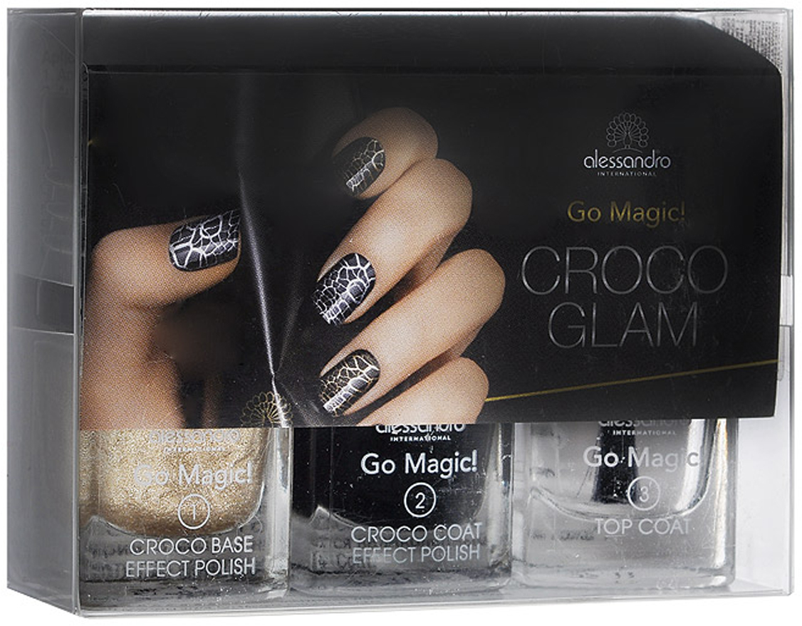 Alessandro Набор лаков для ногтей Croco Glam, 3х5 мл. 20-629 opi покрытие верхнее быстрая сушка rapidry top coat 15 мл