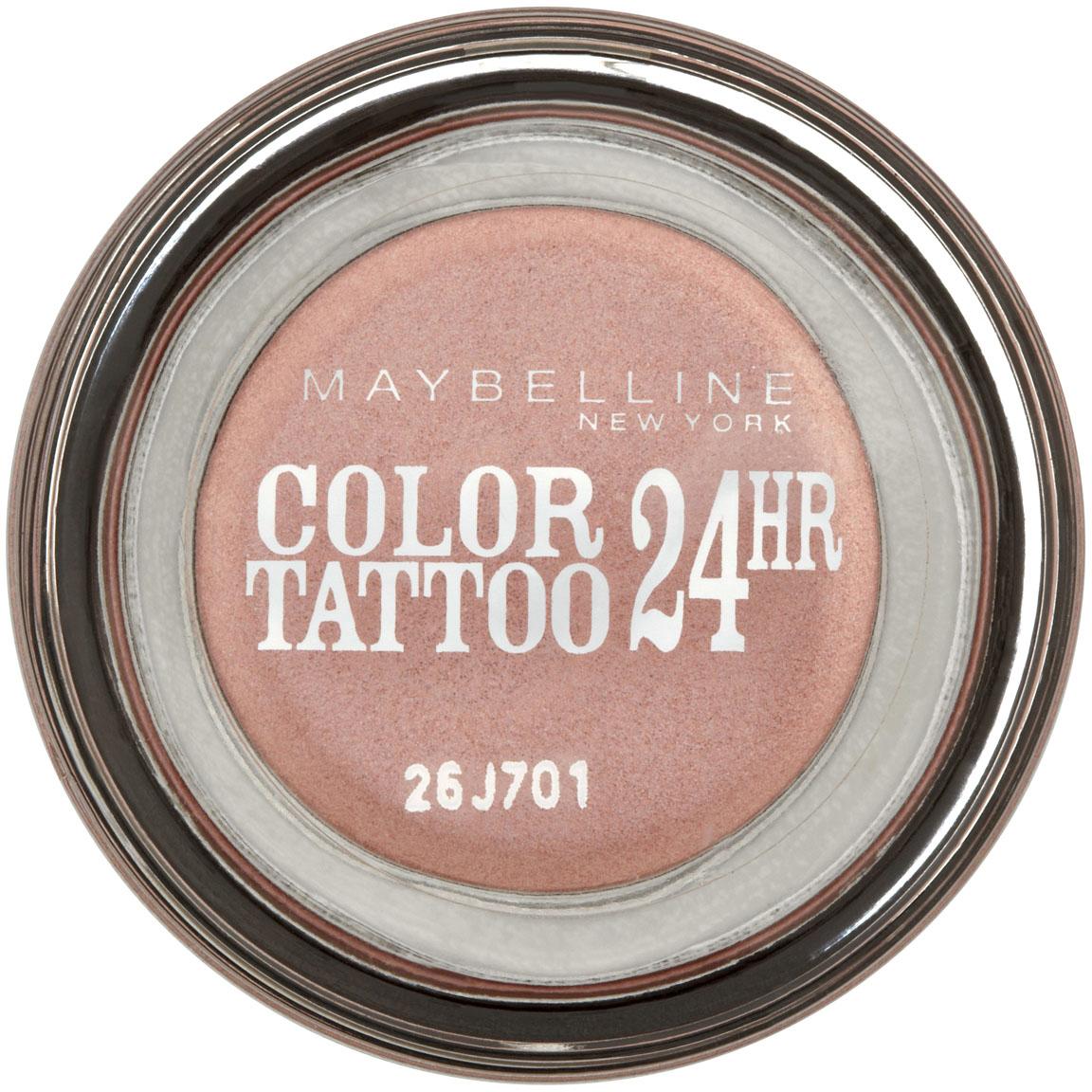 Maybelline New York Тени для век Color Tattoo 24 часа, оттенок 65, Розовое золото, 3,5 млB2074300Технология тату-пигментов создает яркий, супернасыщенный цвет. Крем-гелевая текстура обеспечивает ультралегкое нанесение и стойкость на 24 часа. 12 оттенков