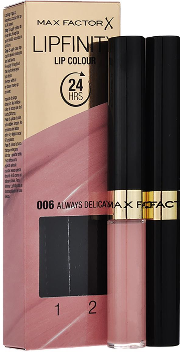 Max Factor Стойкая губная помада и увлажняющий блеск Lipfinity, тон №006 (Always Delicate)81435493Суперустойчивая помада LIPFINITY – это сенсационный двухступенчатый макияж для губ, который разделяет функции стойкого цвета и увлажнения. Lipfinity включает в себя два продукта – элегантный тюбик с цветом и спонжем для удобного нанесения и суперувлажняющий блеск для губ. В течение дня Ваши губы сохраняют цвет, при необходимости достаточно лишь нанести увлажняющий блеск! Lipfinity- это стойкость и великолепные оттенки на любой вкус! Двухступенчатое нанесение: блеск для роскошного цвета для губ и бальзам для сияние увлажнения. Наноси бальзам регулярно в течение дня, чтобы сохранить свежесть цвета губ.1. На сухие чистые губы нанести жидкий красящий пигмент специальной кисточкой. 2. Подождать 1 минуту, нанести увлажняющий блеск, который защитит нежную кожу губ от сухости и шелушения и придаст губам глянец. 3. Стойкая губная помада Lipfinity смывается любым средством для снятия макияжа, содержащим жировые компоненты.Какая губная помада лучше. Статья OZON Гид