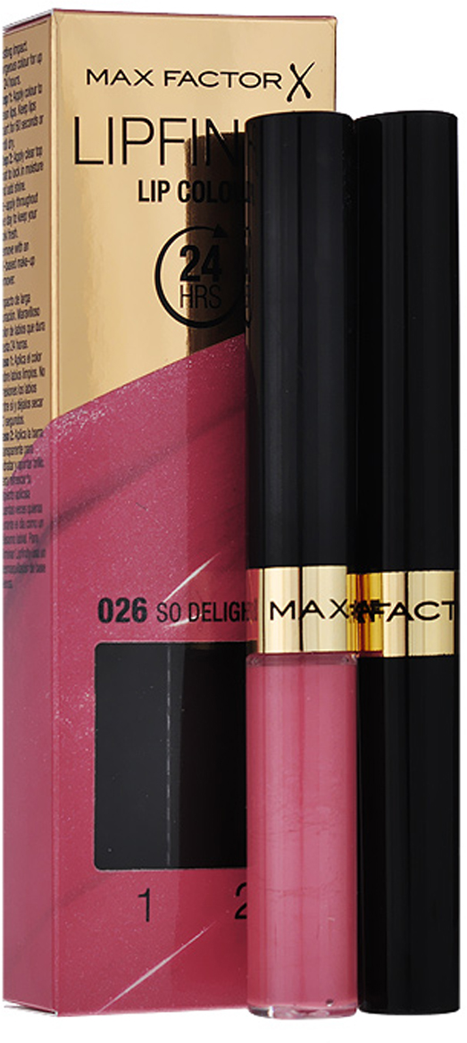 Max Factor Стойкая губная помада и увлажняющий блеск Lipfinity, тон №026 (So Delightful)JD000678Суперустойчивая помада LIPFINITY – это сенсационный двухступенчатый макияж для губ, который разделяет функции стойкого цвета и увлажнения. Lipfinity включает в себя два продукта – элегантный тюбик с цветом и спонжем для удобного нанесения и суперувлажняющий блеск для губ. В течение дня Ваши губы сохраняют цвет, при необходимости достаточно лишь нанести увлажняющий блеск! Lipfinity- это стойкость и великолепные оттенки на любой вкус! Двухступенчатое нанесение: блеск для роскошного цвета для губ и бальзам для сияние увлажнения. Наноси бальзам регулярно в течение дня, чтобы сохранить свежесть цвета губ.1. На сухие чистые губы нанести жидкий красящий пигмент специальной кисточкой. 2. Подождать 1 минуту, нанести увлажняющий блеск, который защитит нежную кожу губ от сухости и шелушения и придаст губам глянец. 3. Стойкая губная помада Lipfinity смывается любым средством для снятия макияжа, содержащим жировые компоненты.Какая губная помада лучше. Статья OZON Гид